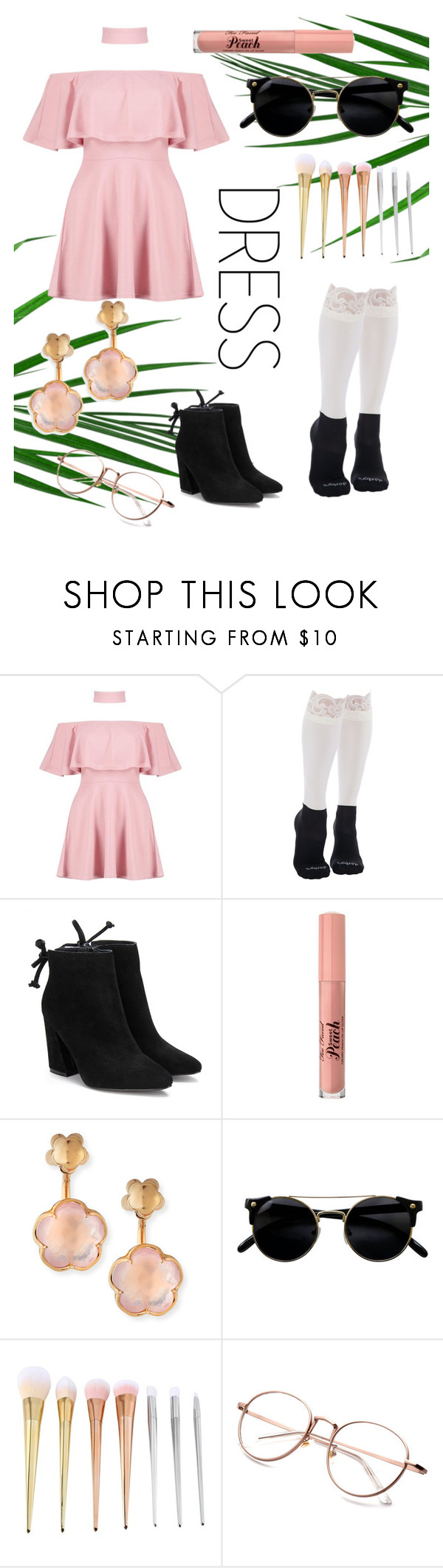 """""""Cold Shoulder ~ Pastel"""" by hipster-euphoria ❤ liked on Polyvore featuring Boohoo, Bootights, Too Faced Cosmetics and Pasquale Bruni"""