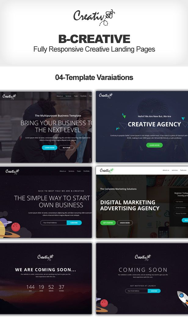 B-Creative Responsive Muse Templates + 2 Upcoming Pages