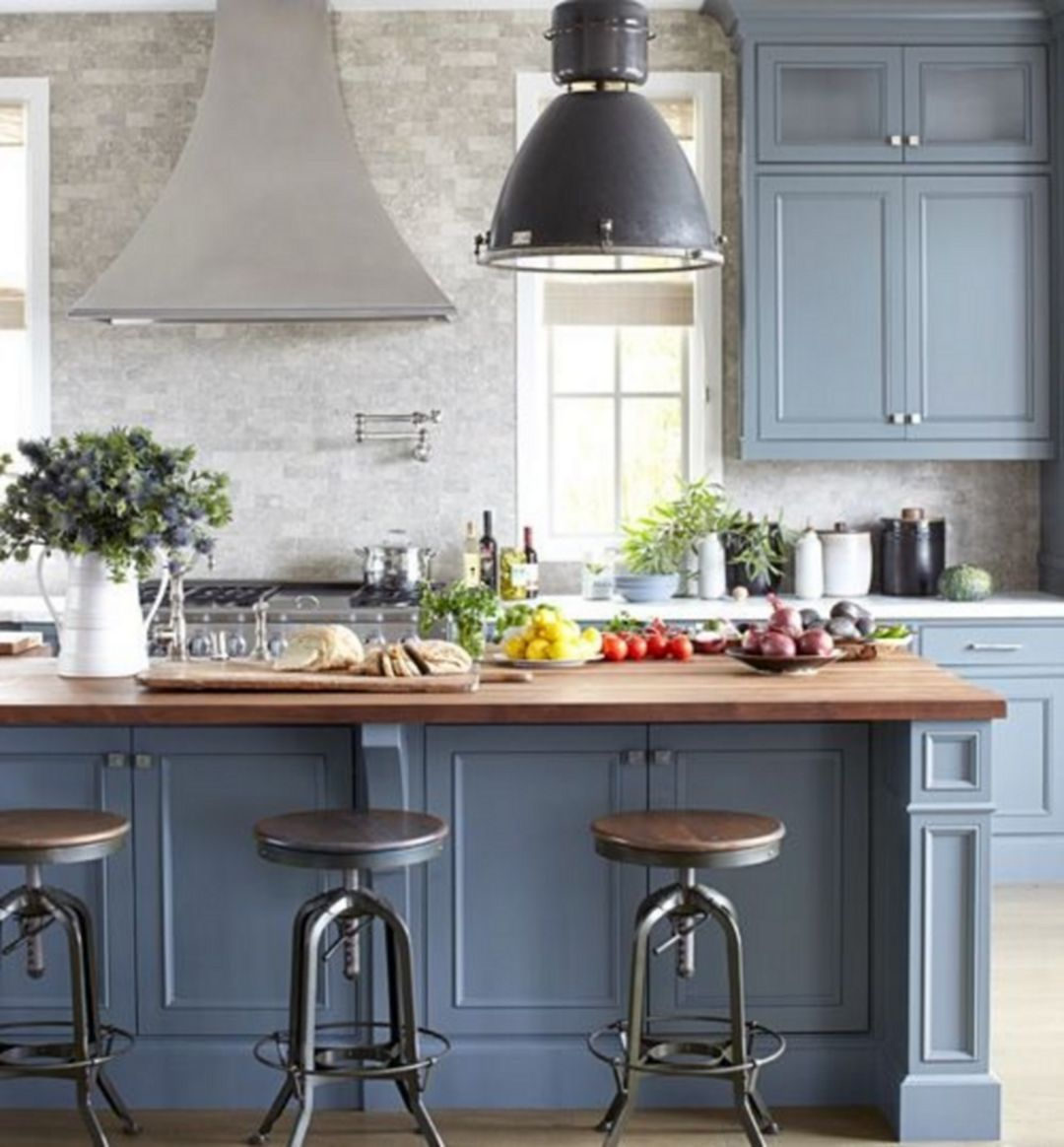 25 Best Blue Kitchen Design Ideas For Fresh Kitchen Inspiration Best Kitchen Design Grey Design Decoration
