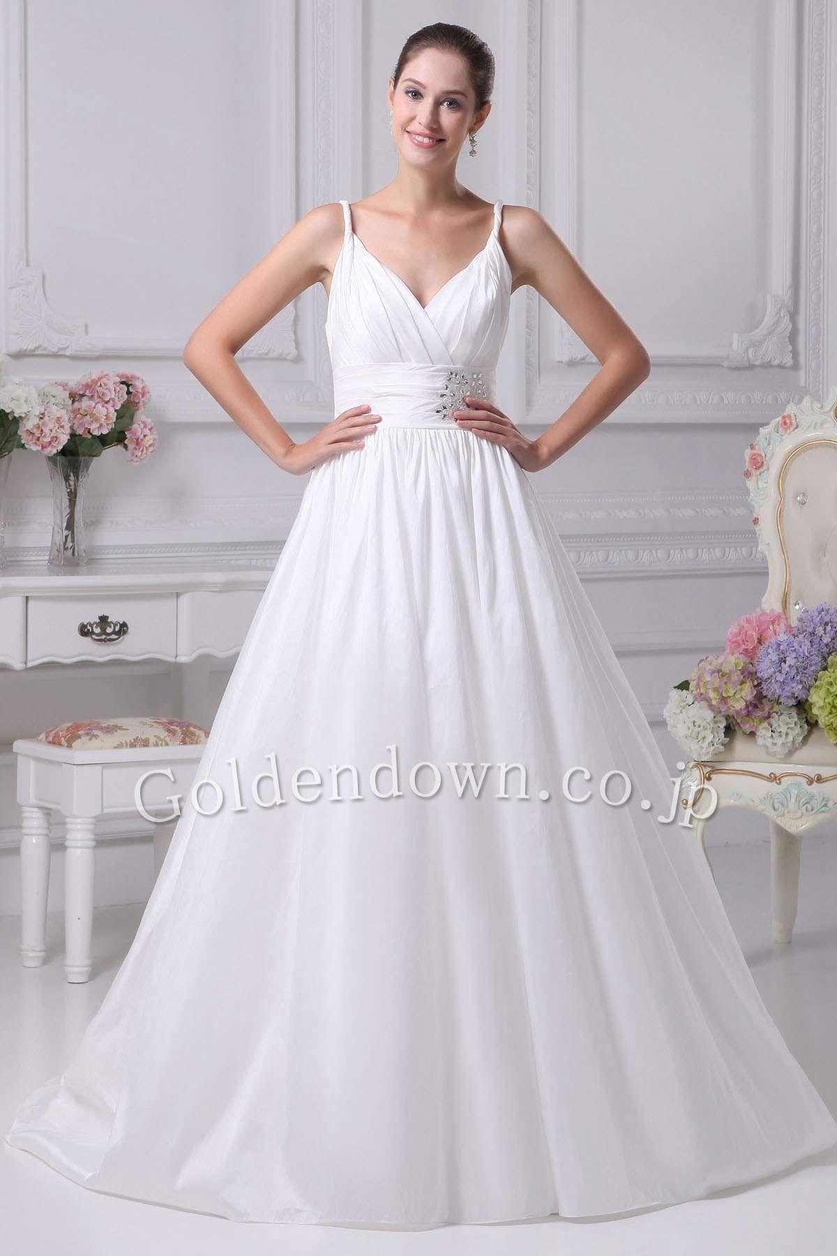 0a7cedb3acba4 ウエディングドレス Aライン フロア キャミソール サテン ホワイト(White) WD1001010035