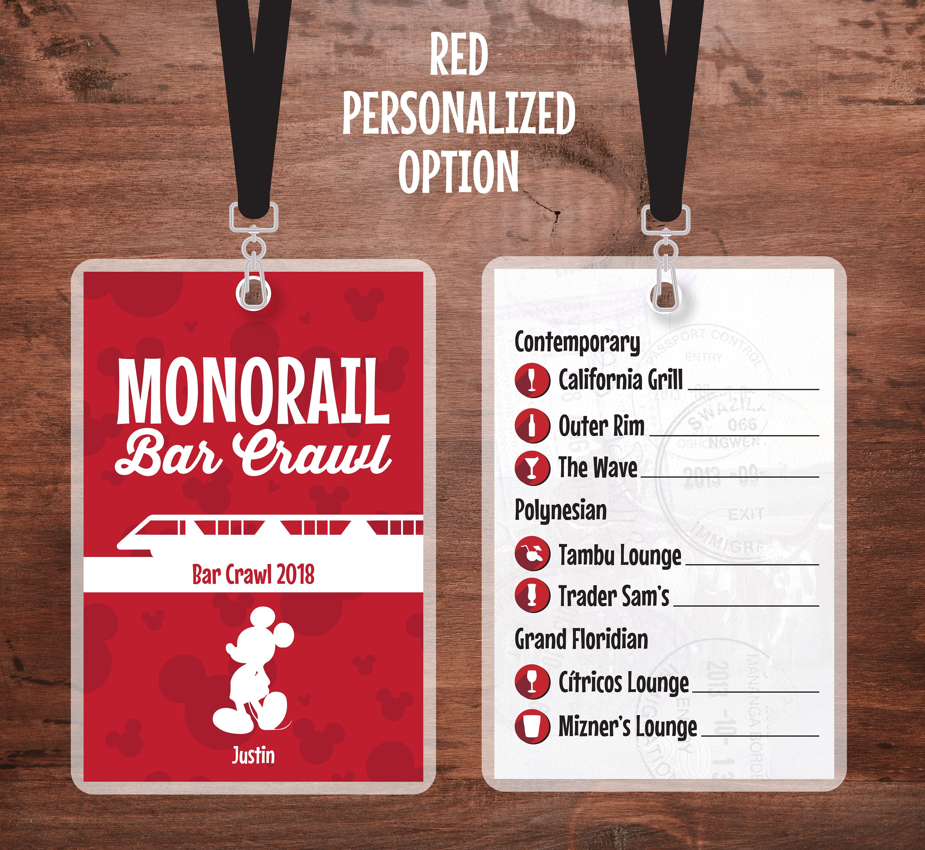 Monorail Bar Crawl Lanyard Walt Disney World Lanyard Contemporary Resort Polynesian Grand Floridian 21st B Bar Crawl Disney Dream Cruise Disney Dream