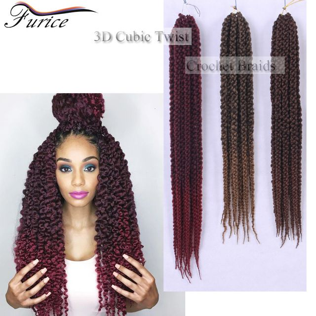 3D Cubic Twist Crochet Braids Ombre 22Inch Senegalese Twist Crochet Hair Afri Crochet Braid 3D Cubic Twist Jumbo Braiding hair