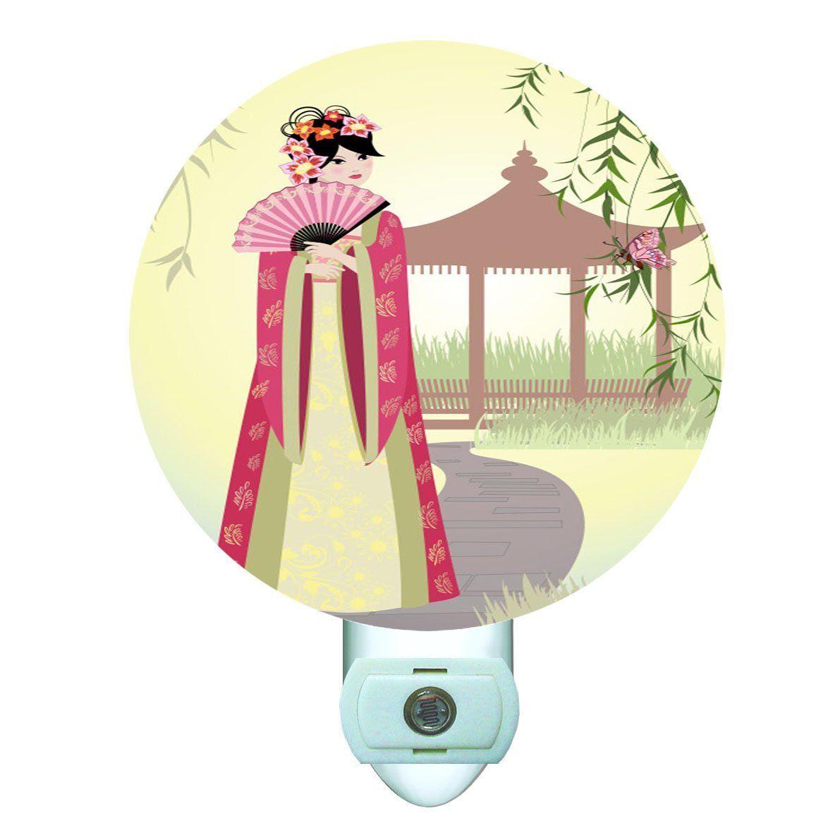 China Girl with Fan Decorative Round Night Light