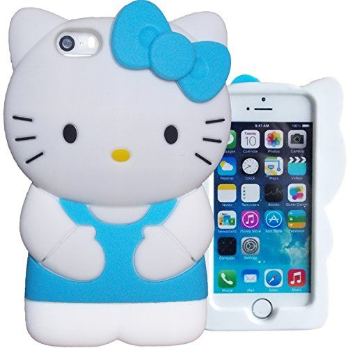 3D Cute Baby Blue & White Hello Kitty Case for iPhone 5 5S ...