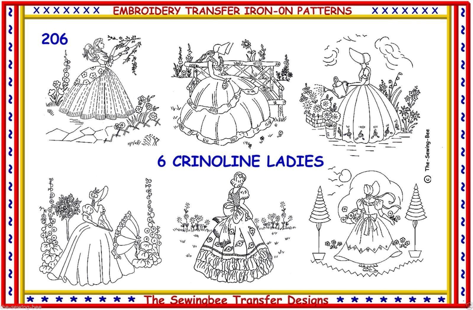 new crinoline lady ladies embroidery ironon transfers