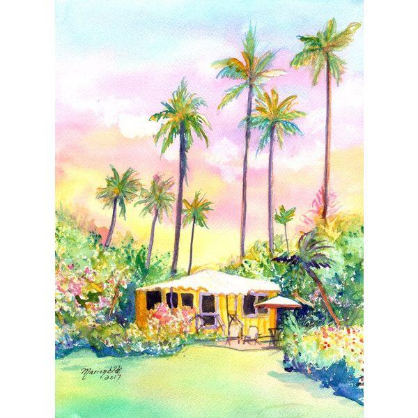 kauai cottage yellow house original watercolor paintings hawaii ...