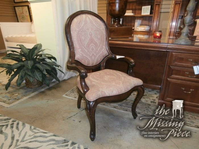 This Henredon Chair Has Dark Wood Arms And Legs With A Faint Tan And Coral  Pattern