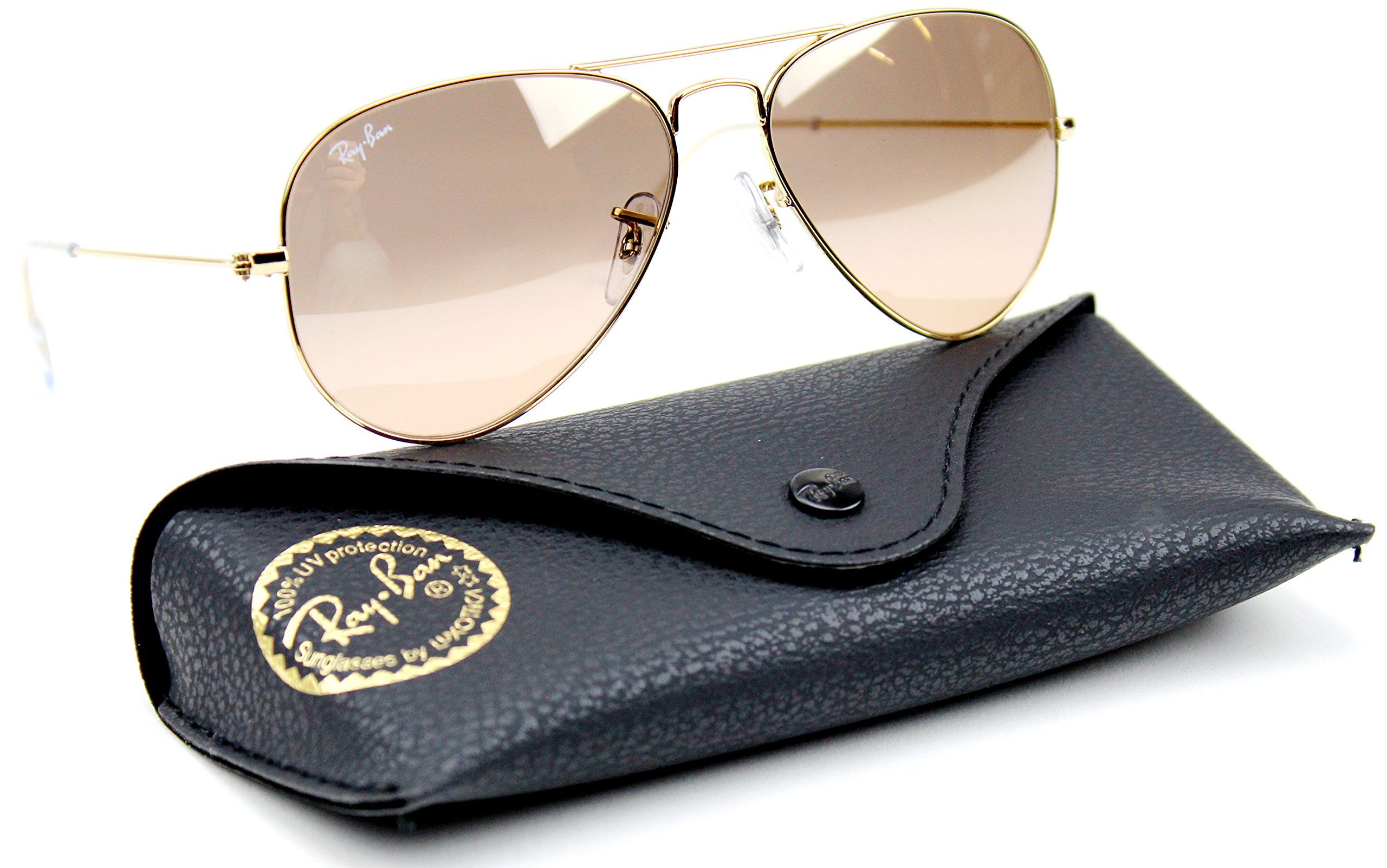 ray ban model rb3025  Ray-Ban RB3025 001/3E Gold Frame / Brown-Pink Silver Flash Lens ...