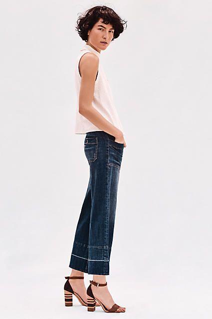 Pilcro Mid-Rise Wide-Leg Crop Jeans | Wide legs, Blue jeans and ...