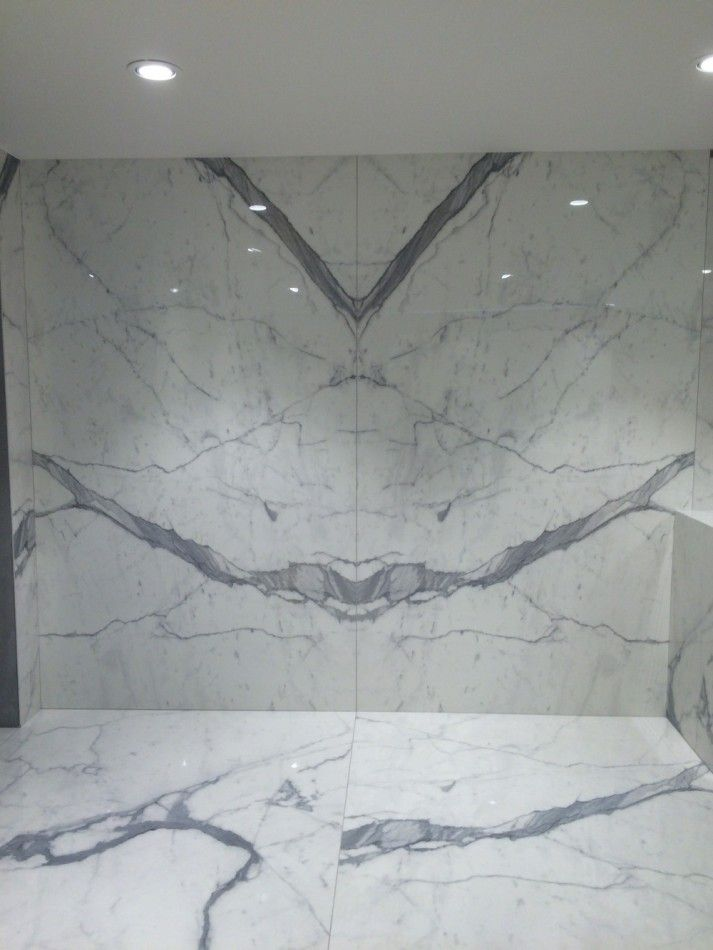 Porcelain Statuario Slab And Tiles Countertops Shower Remodel