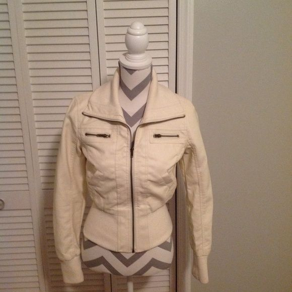 Cream Faux Leather Jacket Ambiance Apparel Cream Faux Leather Jacket. Perfect for the Fall!! Ambiance Apparel Jackets & Coats Utility Jackets