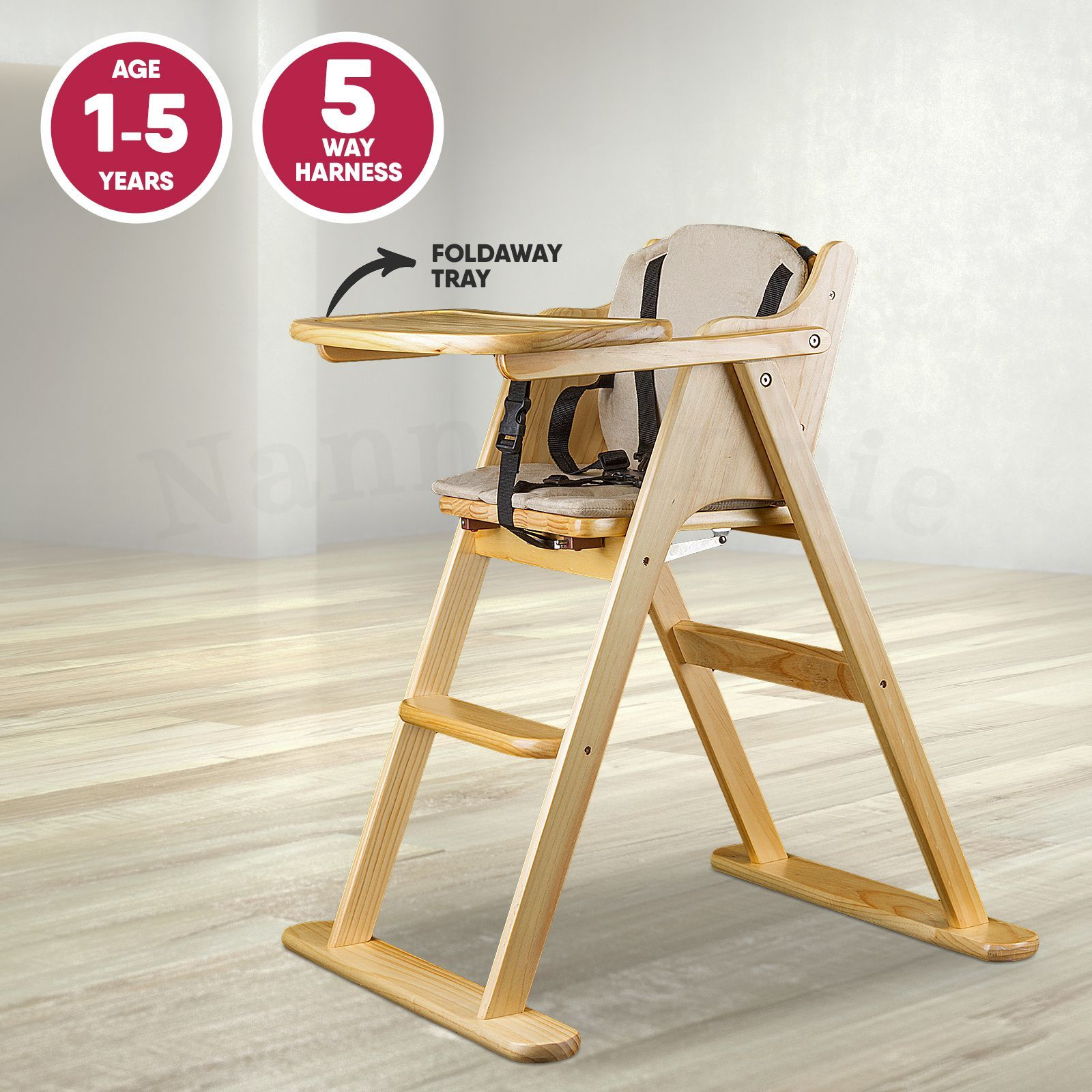Wooden Folding Baby Highchair Fold Away Baby High Chair Beech