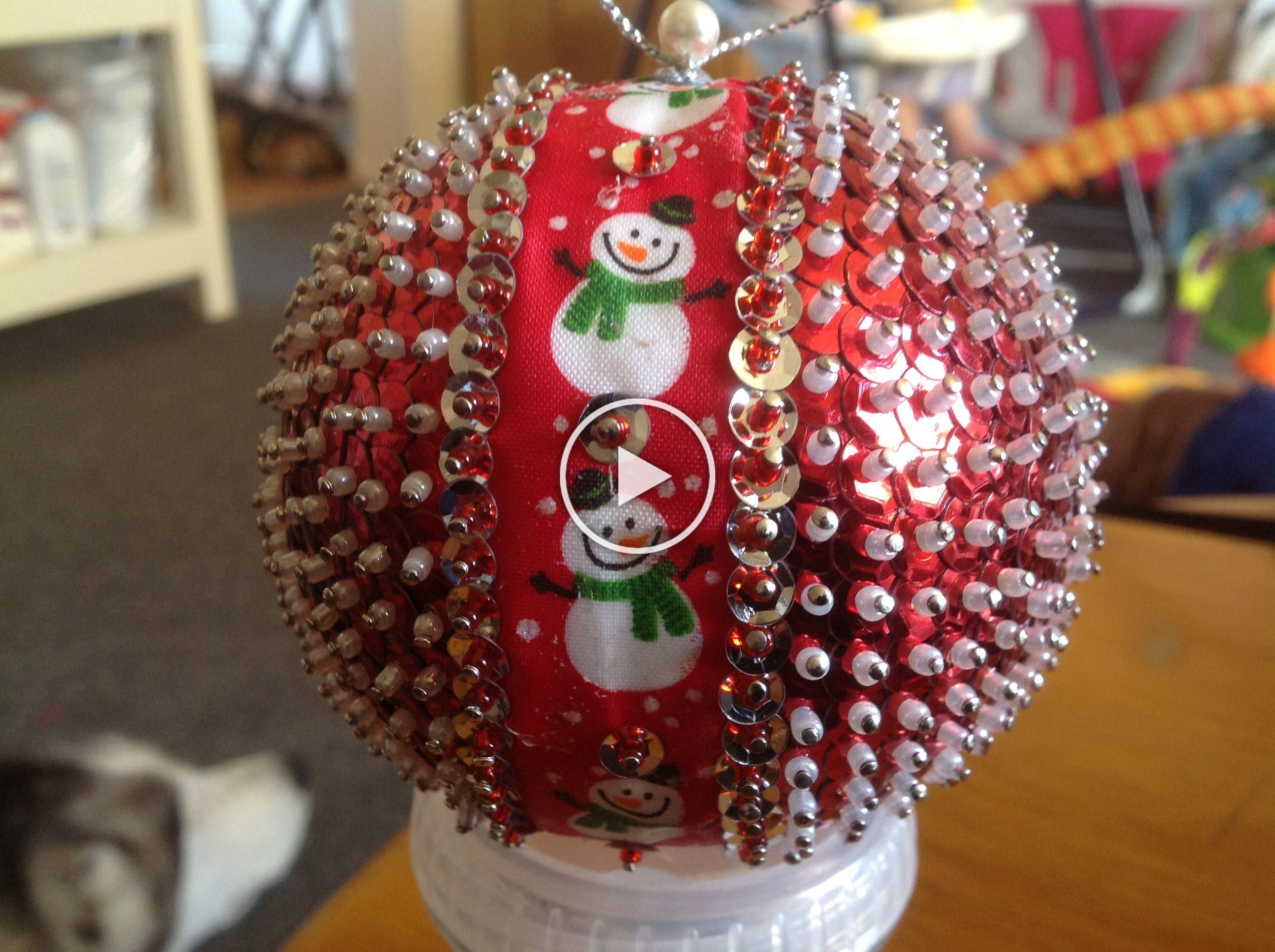 Snowman sequin Christmas ornament in 2020 Beaded