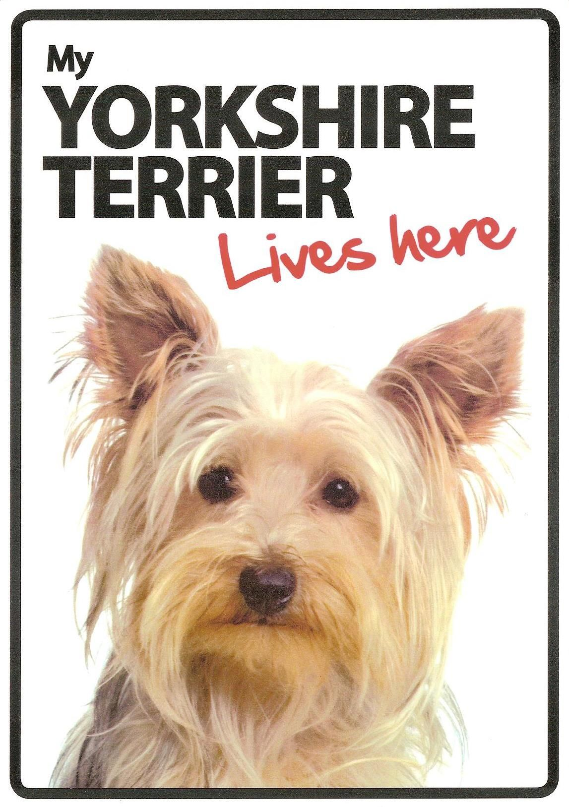 """/""""My Yorkshire Terrier Lives Here/"""" Sign"""