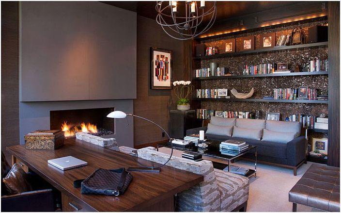 Resultado De Imagen Para Oficinas En Casa De Lujo Masculine Home Offices Home Office Design Home Study Design