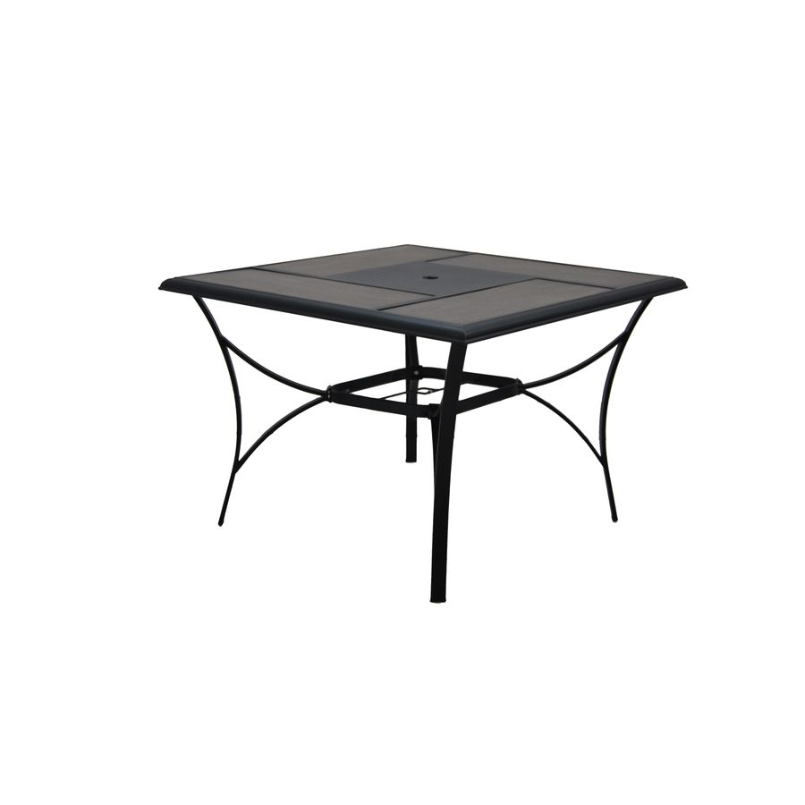 Garden Treasures Skytop W X L Square Black Steel Patio Dining Table