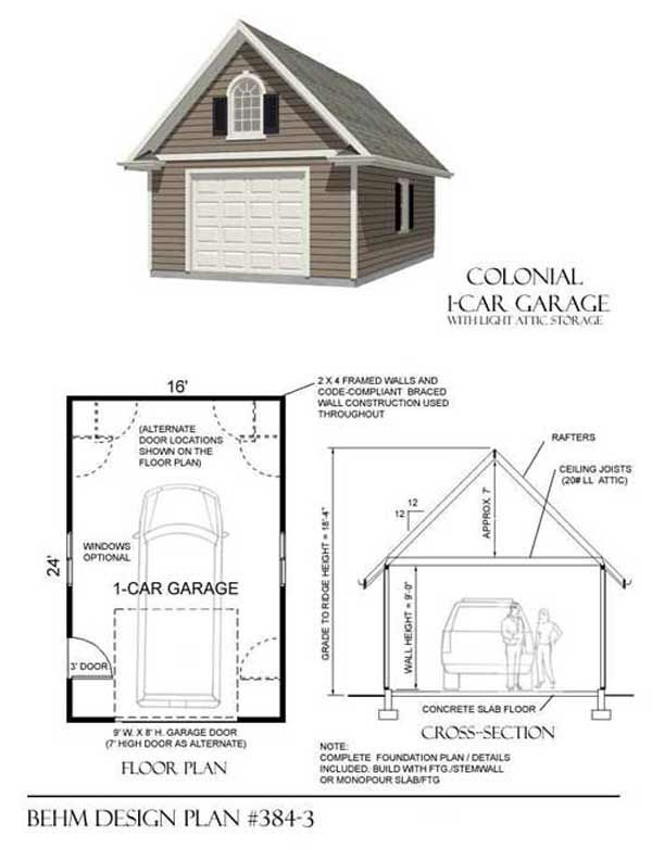 Large colonial style one car garage plan no 384 3 by behm for Car garage plan