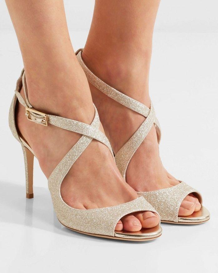 b9124e5bfad JIMMY CHOO Emily glittered leather sandals