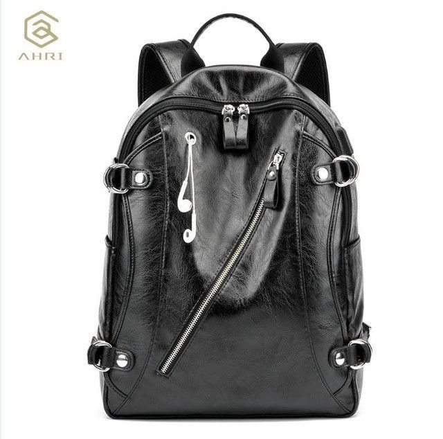 c1ec2eed4013 AHRI NEW 2017 Men Backpack PU Leather Men s Shoulder Bags Fashion Male  Business Casual for School