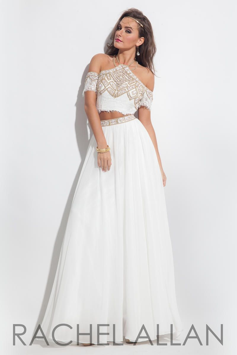 Rachel Allan 7083 Off Shoulder 2pc Prom Gown | Kleider