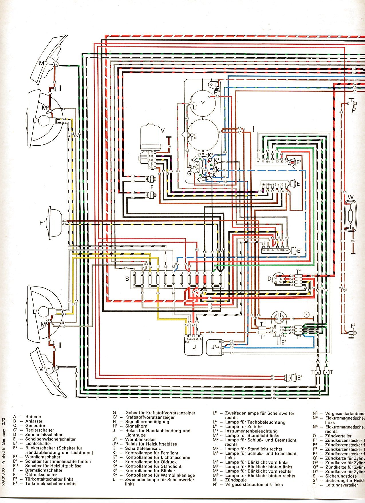 schéma électrique Baywindow Type 4 1700 | VW Tech & Tools ...