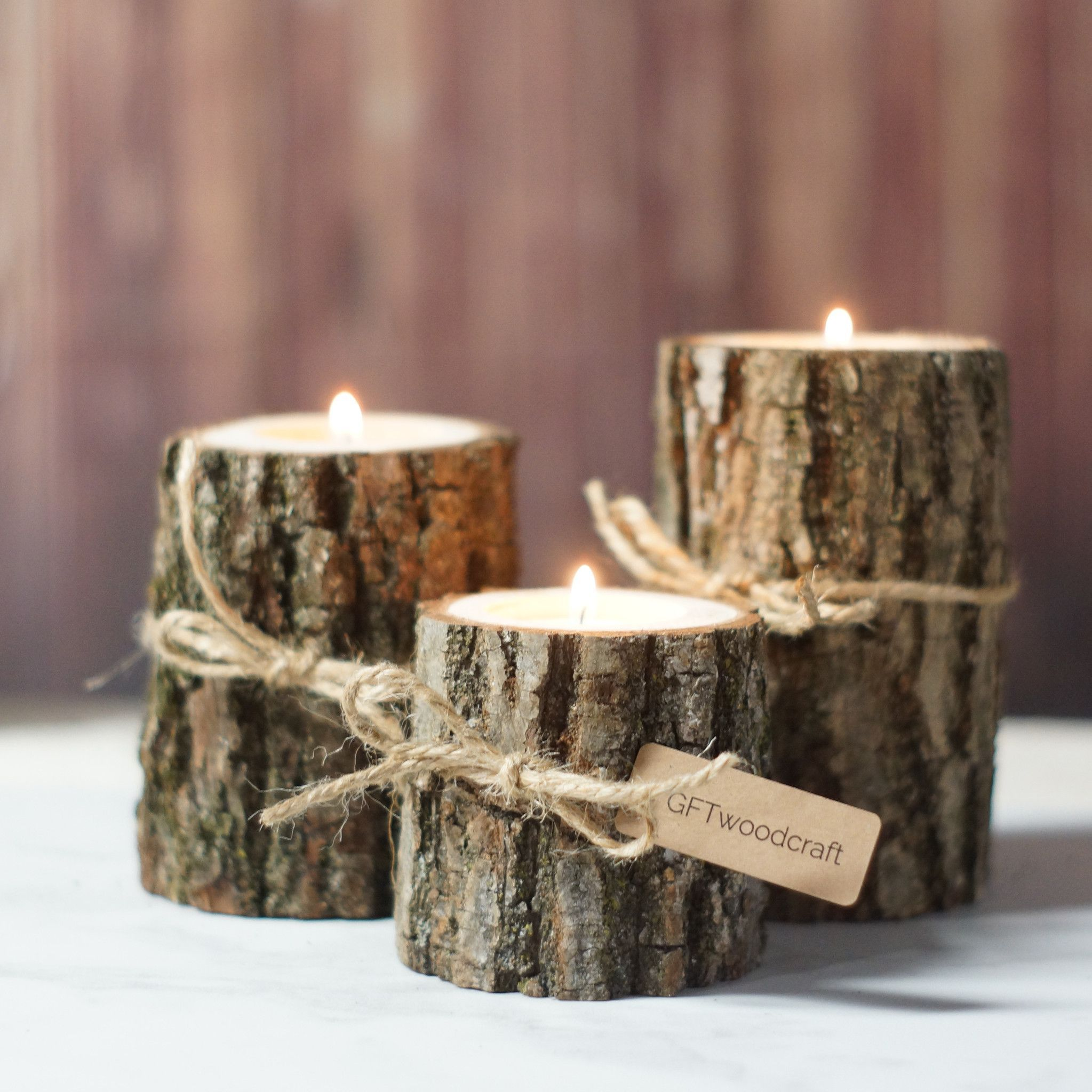 Twine log candle holder set of rustic centerpieces