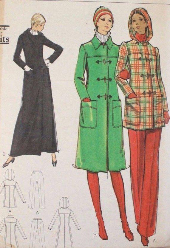 70s vogue Vintage 70s VOGUE Pattern 8384 Misses Coat amp; Pants Maxi Street Short Size 10 UC FF