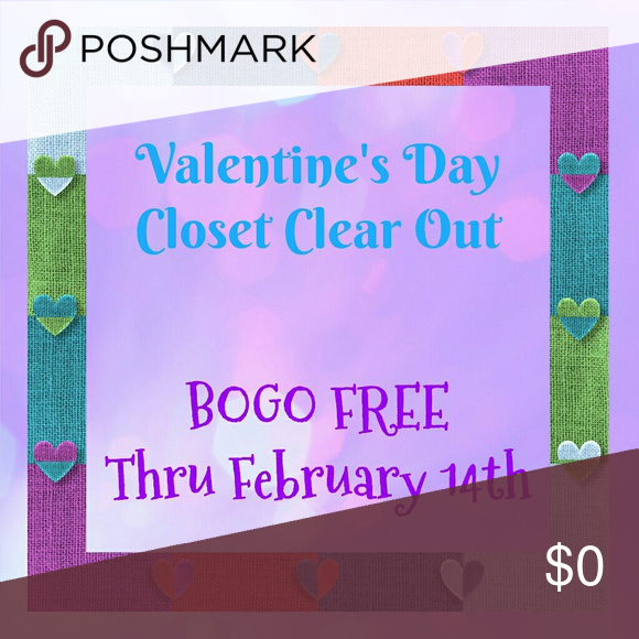 "??Happy Valentine's BOGO FREE Sale?? Now thru Valentine's Day (Feb 14) - Buy 1 item Get 1 item Free (free item must be equal or lesser value). EVERYTHING in the closet is included!!  Bundle your items and offer the discounted amount Any questions please ask!! Have fun shopping!! ""And now these three remain: faith, hope and love. But the greatest of these is love."" - 1 Corinthians 13:13 Other"