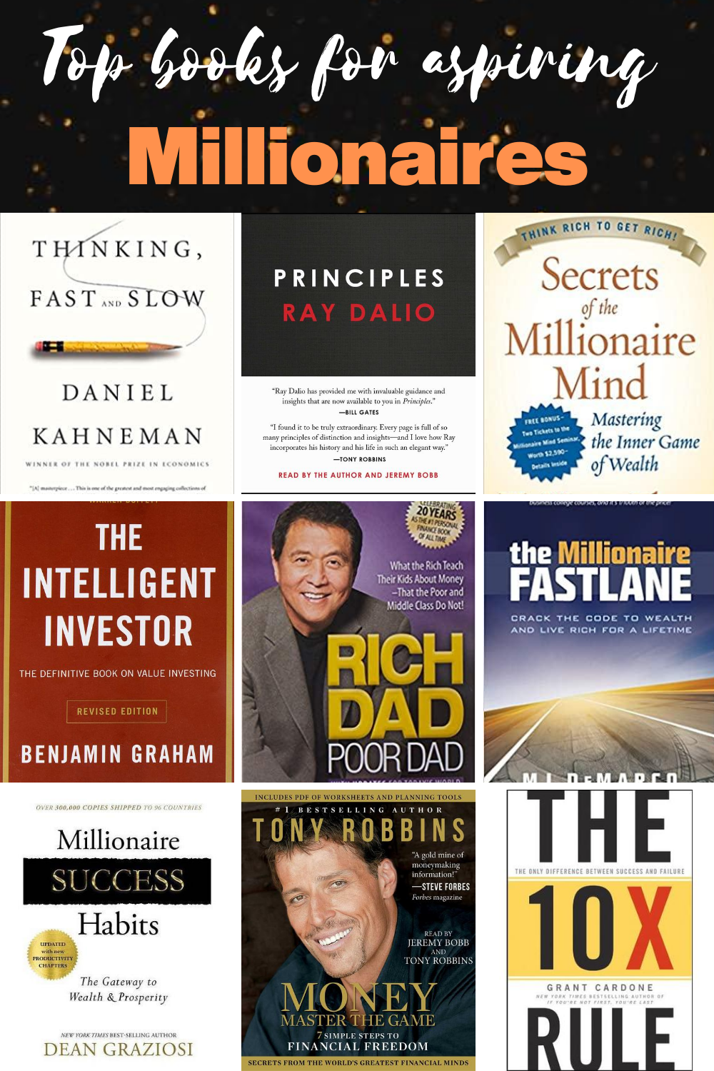 Here's a list of some of the best books that every aspiring millionaire or one who have big aspirations should read once in his life time. . books to read| money management books| life changing books personal development| must read books in 2020| growth mindset books  . Let me comment section from which book you will start or which one is your favourite. Follow for more interesting pins like this. . #lifechangingbooks #highlyrecommendedbooks #millionairebookstoread #booksformillionaires #books