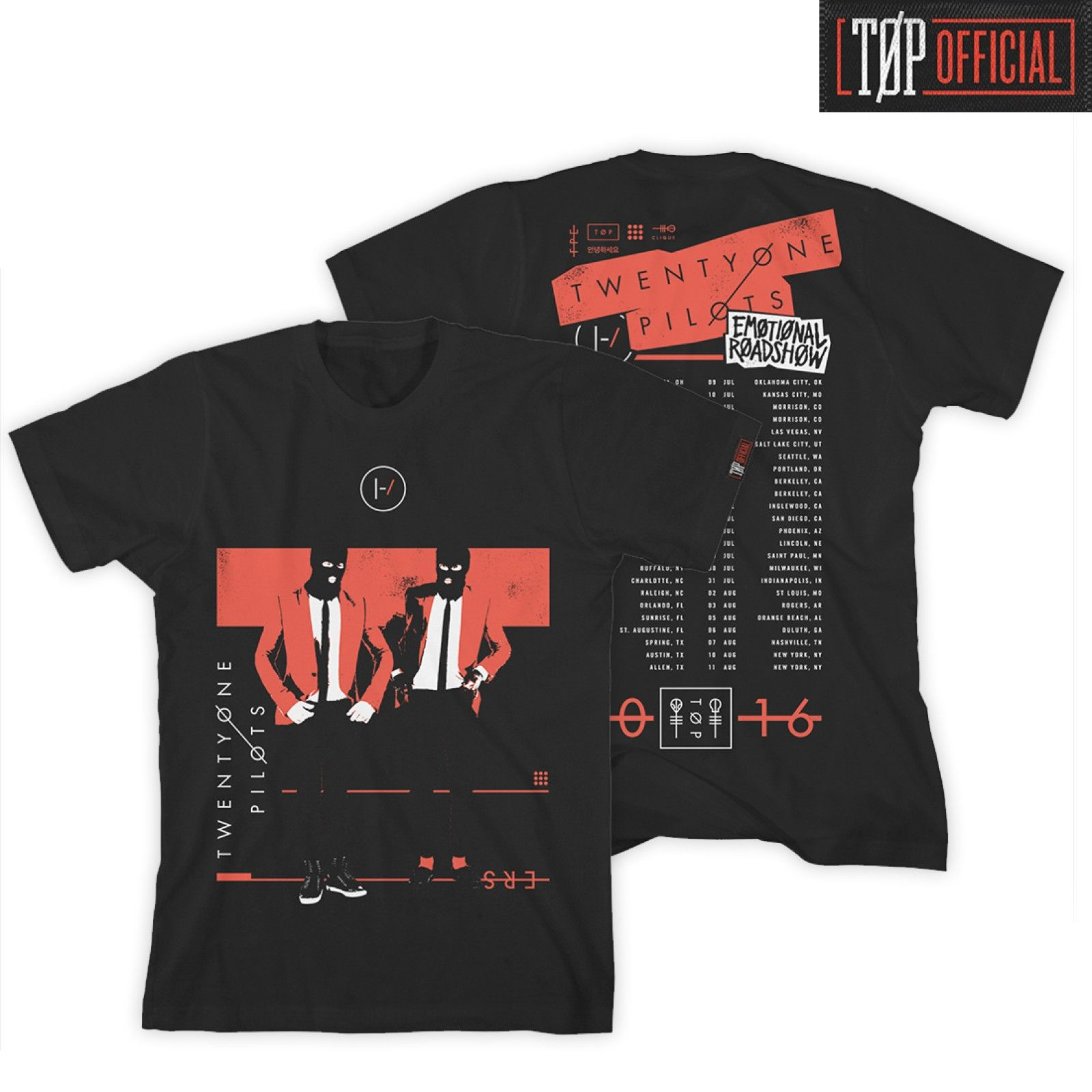 Emotional Road Show Tour T Shirt On Tour Only Twenty One Pilots
