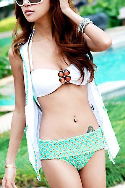 Clover Embellished Printing Bikini