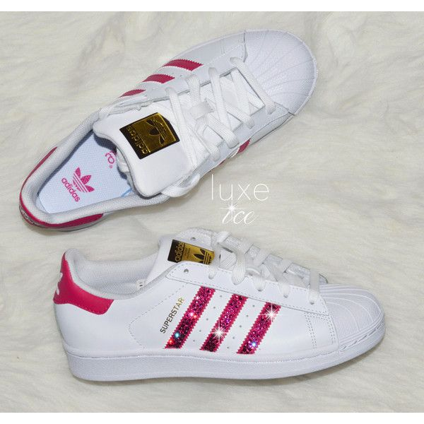 Adidas Original Superstar white/bold Pink With Swarovski Xirius... ($145) ❤  liked on Polyvore featuring shoes, silver, sneakers & athletic shoes, ...