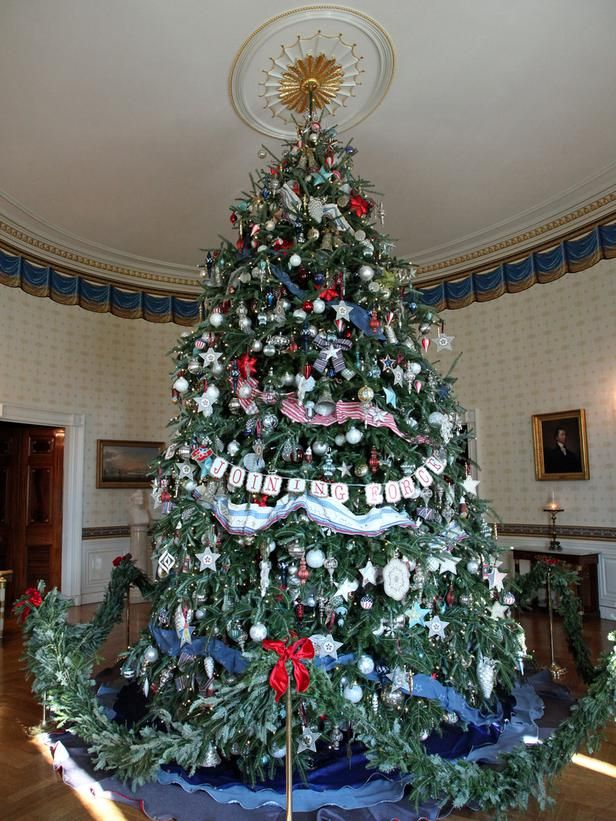 The Blue Room Tree 2012 The official White House Christmas tree is  dedicated to troops, veterans and military families who serve the United  States each day. - White House Christmas 2012: Decorating America's First Home For The