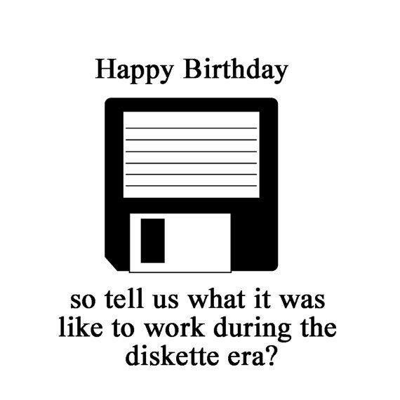 Happy Birthday Vintage Computer 50th Birthday Cards Funny Card 90 S Inspired Floppy Disc Your So Old Card 90 S Theme 90 S Era Theme In 2021 Happy Birthday Vintage 40th Birthday Funny Funny Cards