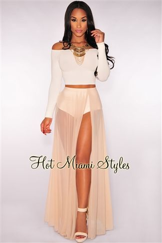 2cd3494d999 Nude Sheer Panty Maxi Skirt