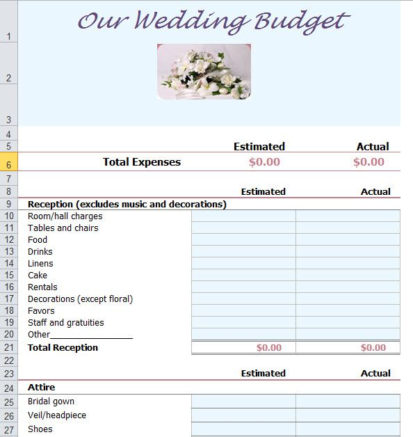 Wedding Budget Template Excel  Budget Wedding