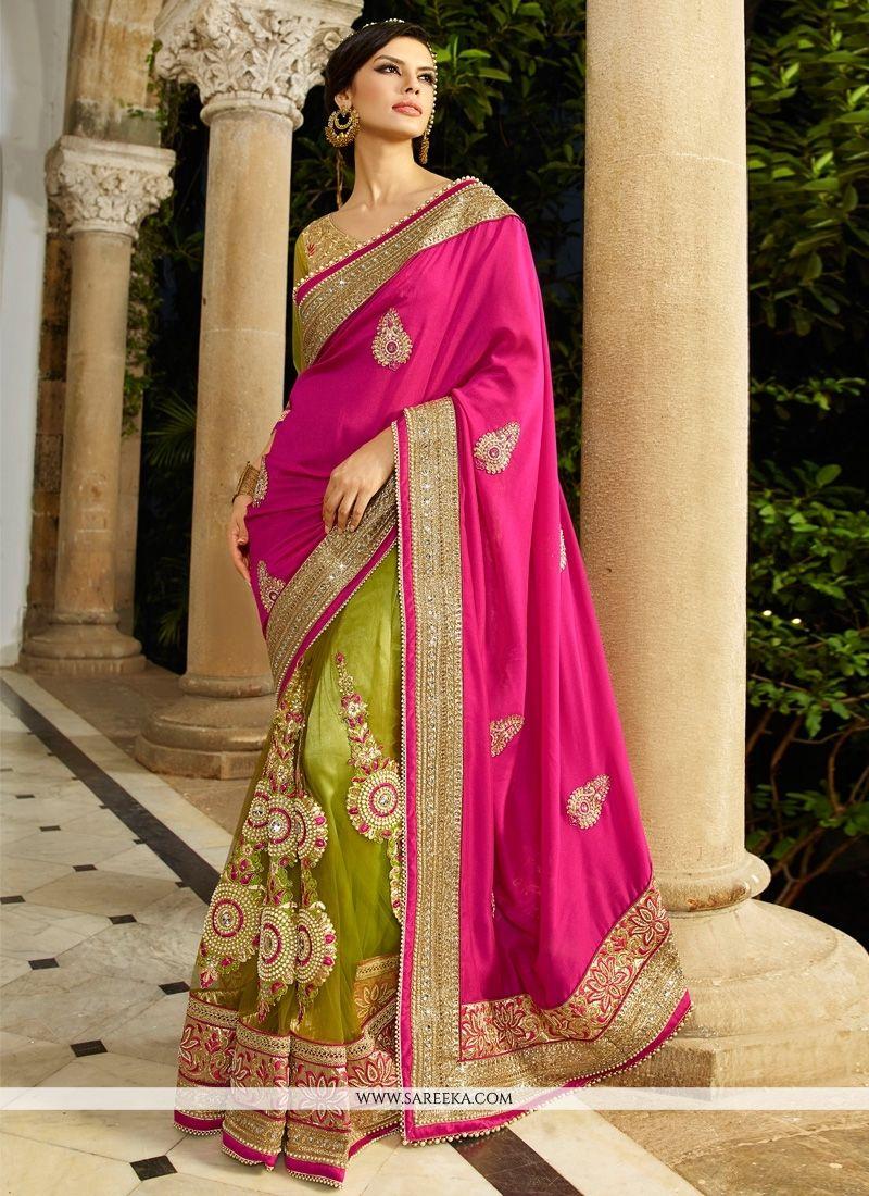 6cd64a04dd Net Hot Pink Designer Saree   Sarees   Saree wedding, Pink saree ...