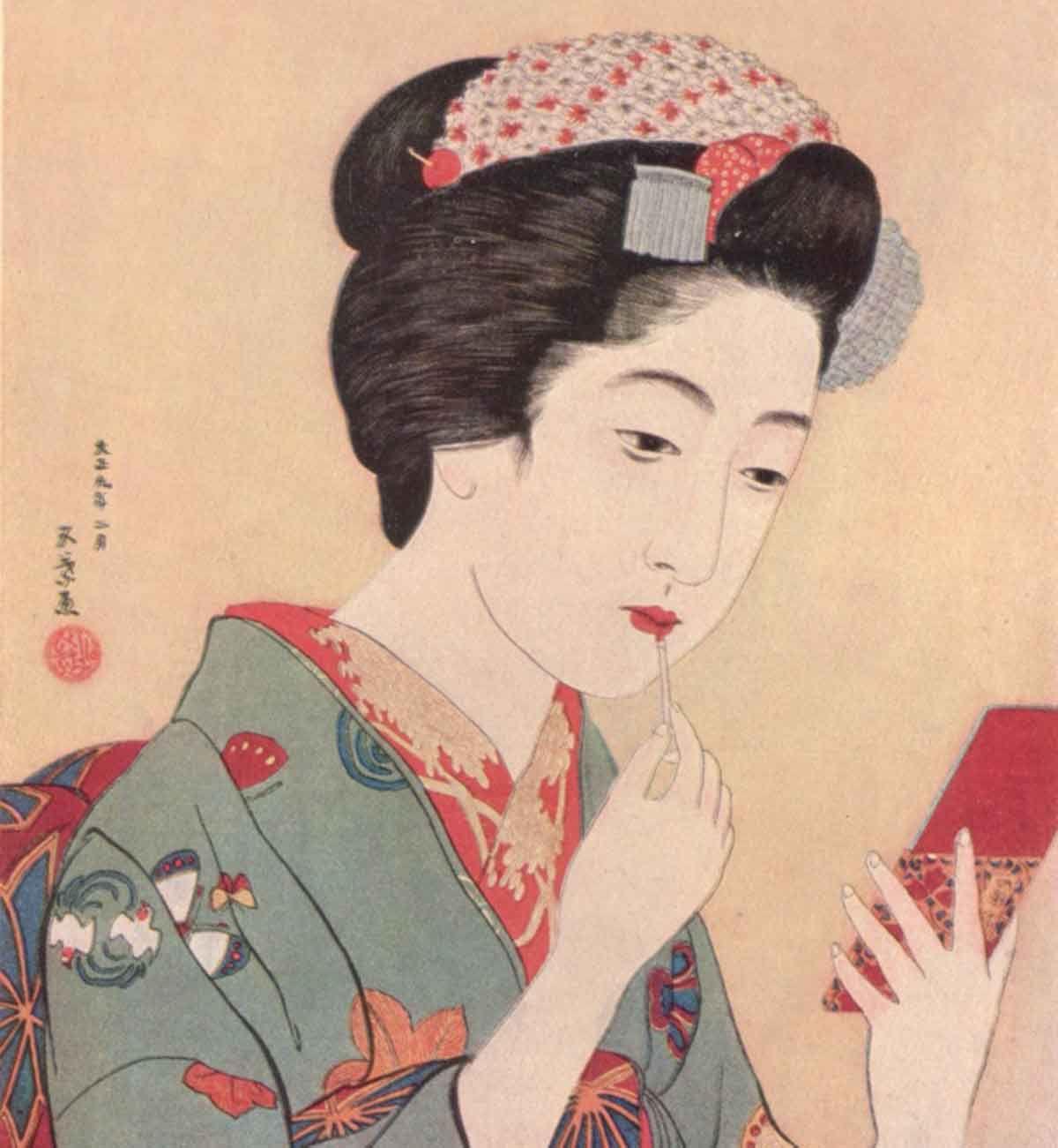 Genuine woodprint painting of geishas has left