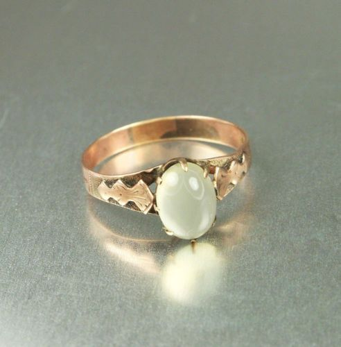 Victorian 14K Rose Gold Moonstone Antique Ring Size 7.5