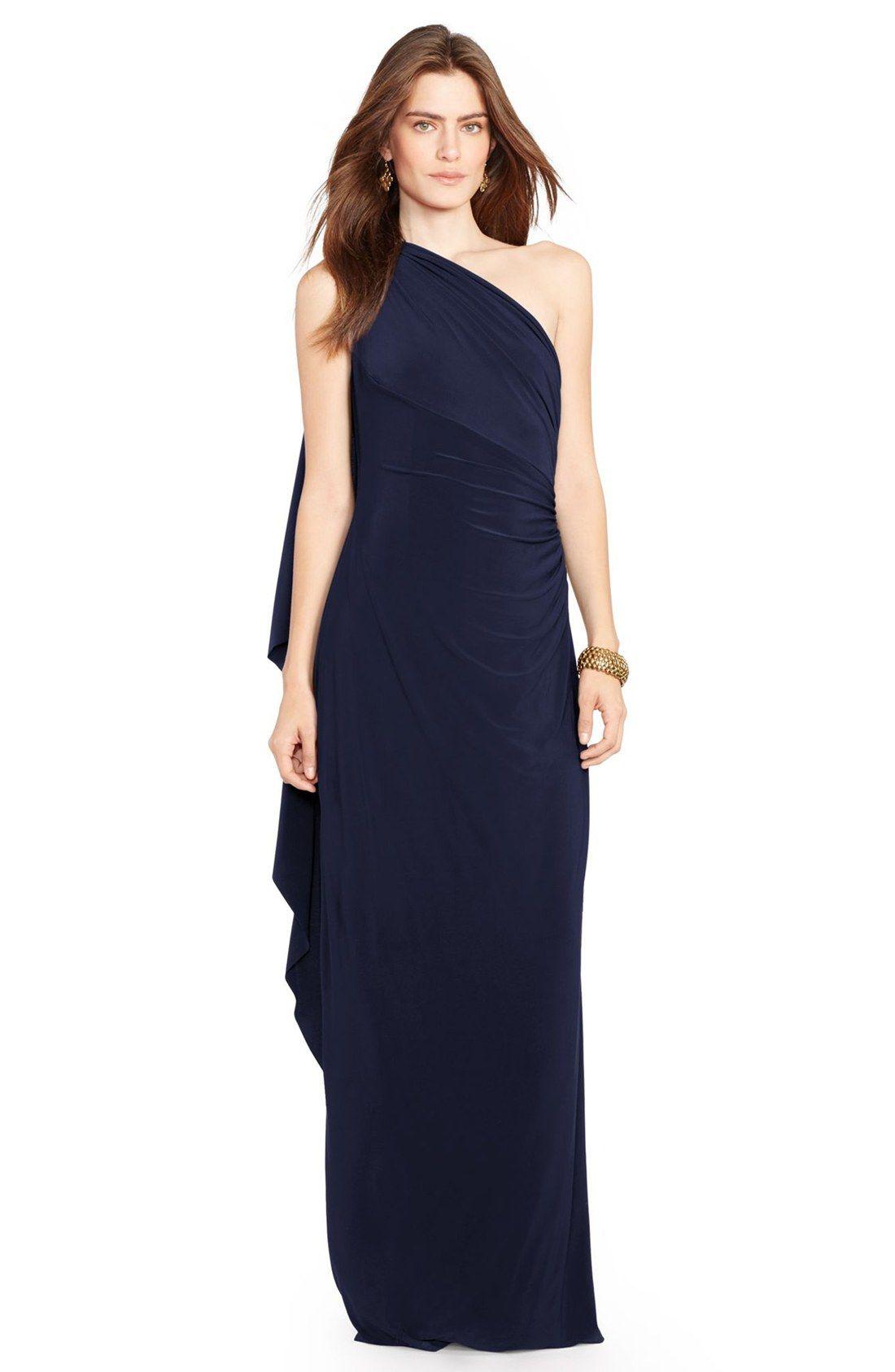 Lauren Ralph Lauren One-Shoulder Jersey Gown #BW #evening | If I ...