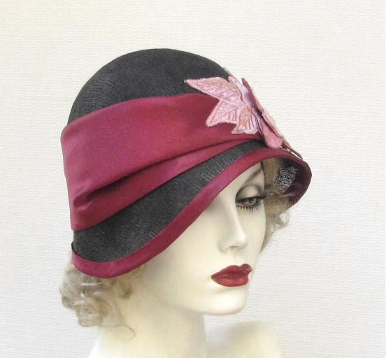Womens Hat 1920's Flapper Hats Cloche Millinery Straw Hat for Summer in Black and Wine Red. $215.00, via Etsy.