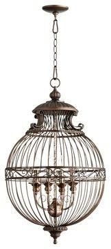 "Traditional Quorum Birdcage 18 1/2"" Wide Oiled Bronze Pendant Light - traditional - pendant lighting - Lamps Plus"