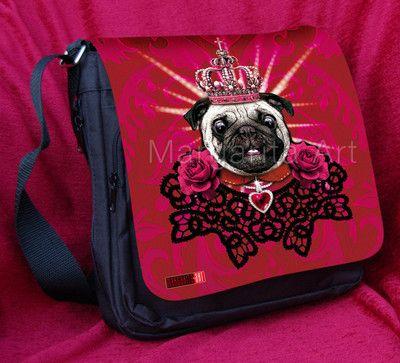 Pug The King With Roses Schultertasche Tragetasche Taschen