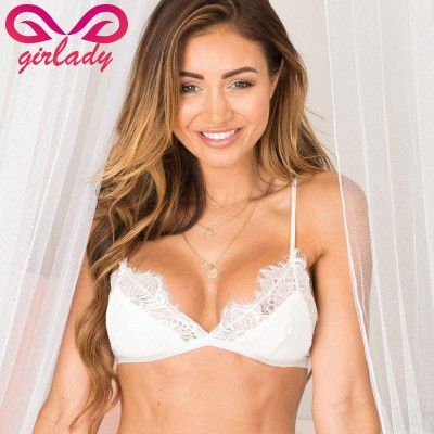 202cb69773 GIRLADY Women White Lace Flower Bralette Bras Top Hot Sexy See Through  Brassiere Women Brand Cotton Mesh Lingerie Bra For Ladies