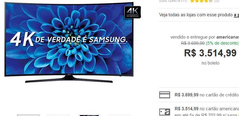 """Smart TV LED 55"""" Samsung 55KU6300 Ultra HD 4K Curva 3 HDMI 2 USB << R$ 351499 >>"""