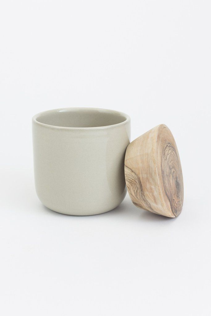Ceramic Storage Jar With Wooden Lid Taupe Jar Storage Candle Containers Ceramic Jars Ceramic jar with lid