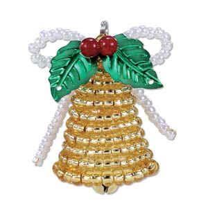 Christmas bell beaded ornament