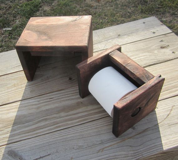 Wood Toilet Paper Holder - Country Bathroom Decor - Rustic
