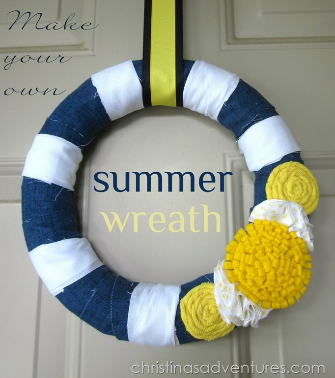 Summer Wreath 2012 {navy & yellow} - Christinas Adventures