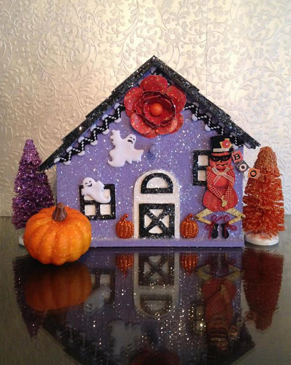 Haunted House, Halloween House, Glitter House, Putz House, Putz - decorate house for halloween